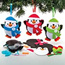 Baker Ross AT238 Penguin Decoration Sewing Kits, Christmas Arts and Crafts (Pack of 3), Assorted