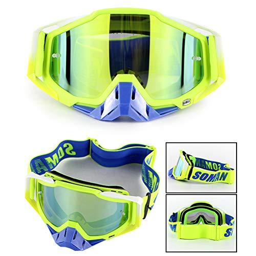 OUYAWEI Motorradfahren Outdoor-Skibrille Langlauf-Skibrille Windproof Rider Glasses Grüner Rahmen