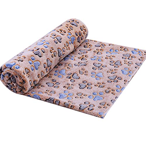 Gsdviyh36 Cute Puppy Kitten Dogs Cats Warm Paw Print Coral Fleece Blanket Mat Carpet Towel, Variety of Specifications, Wrinkle Resistant Woolen Blanket, Luxury Soft Coffee S