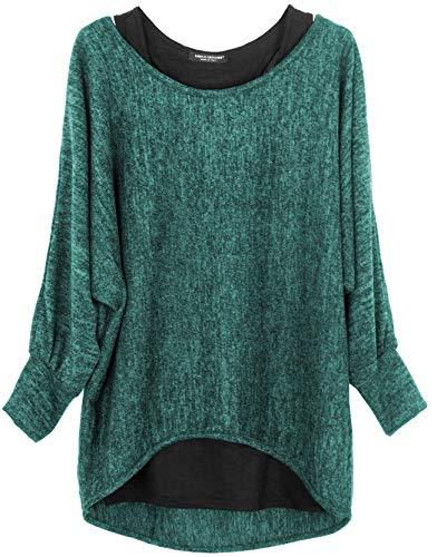 Emma & Giovanni - Damen Oversize Oberteile Tshirt/Pullover (2 Stück) / Made In Italy, M-L,  Grün