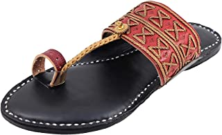 KALAPURI� Ladies Kolhapuri Chappal in Ultra Soft Genuine Leather with Black Pointed Shape Base and Traditional Punching Re...