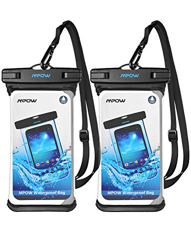 Mpow Waterproof Phone Pouch, Full Transparency IPX8 Waterproof Case with Adjustable Lanyard Universal Dry Bag Compatible for iPhone X/8/8P/7/7P, Galaxy S9/S9P/S8P/Note 8, Google/HTC up to 6.0' 2-Pack