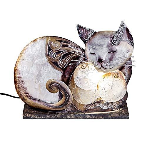 Formano Muschel-Lampe Katze Capiz Katzenlampe 661593 Katzen-Lampe Muschelllampe liegend Katzen Capiz-Muschel