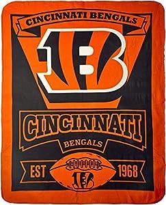 """NFL Cincinnati Bengals """"Marque"""" Fleece Throw Blanket, 50"""" x 60"""""""