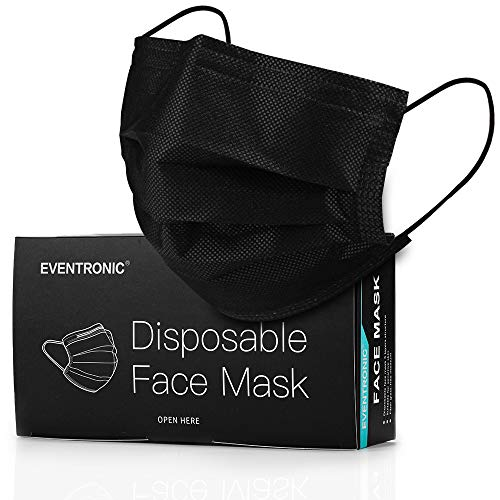 Disposable Face Masks, Eventronic 3 Ply Breathable Face Masks with Comfortable Elastic Ear Loop For Adults Men Women Teens (Black)