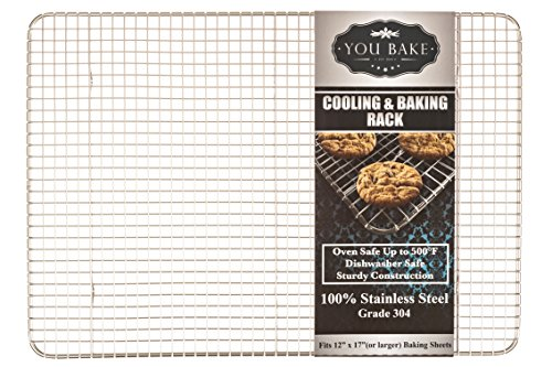 """You Bake Stainless Steel Cooling Rack - Made for 12""""x 17"""" Baking Sheets and Pans - Oven and Dishwasher Safe. Also Great for Baking, Smoking, Grilling, and Roasting."""