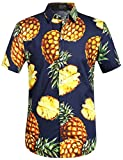 SSLR Men's Pineapple Casual Button Down Short Sleeve Hawaiian Shirt (Large, Navy)