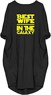 Best Wife In The Galaxy Long Sleeve Oversize T-Shirt Dresses Pockets For Women