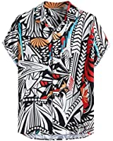 Mens Hit Color Printing Shirt Turn Down Collar Short Sleeve Loose 5 Way Stretch Casual Beach Party Tops Red