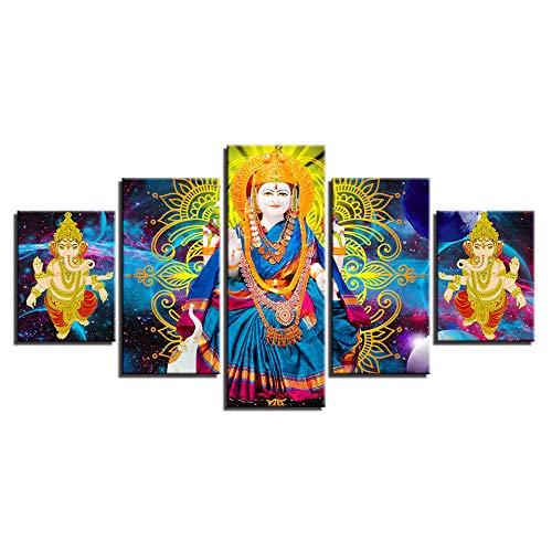 Zqylg Decoración única Arte de la pared de la habitación Imágenes de impresión HD 5 piezas India Religión Parvati y elefante Dios Ganesha Lienzos Modular 40x60 40x80 40x100 Sin marco