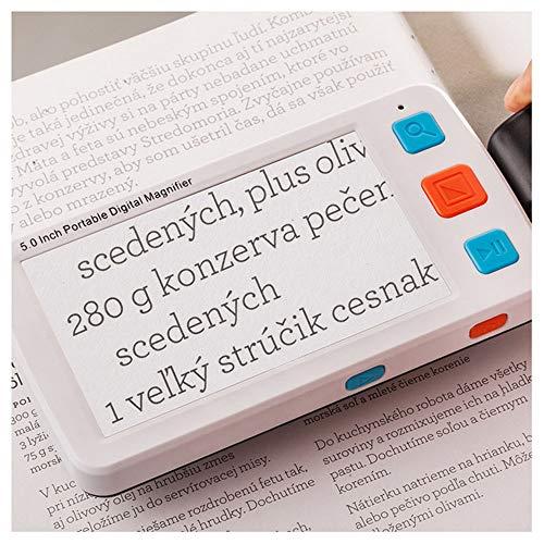 5In Digitales Vergrößerungsglas, Hand Low Vision Aid, 4X-32X Abbildungsmaßstab unendlich, mit Foto/Memory-Funktion, 17 Farbmodi, TV-Ausgang Unterstützung, Geeignet für Menschen mit Sehschwäche