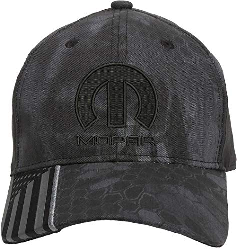 New Mopar Motor Car Sport Racing Embroidered One Size Fits All Structured Hats (Black/Black)