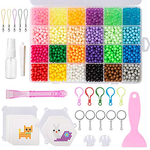 LIHAO 3500 Abalorios Cuentas de Agua 24 Colores 5mm Perlas Kit DIY Manualidades Juguetes para Niños