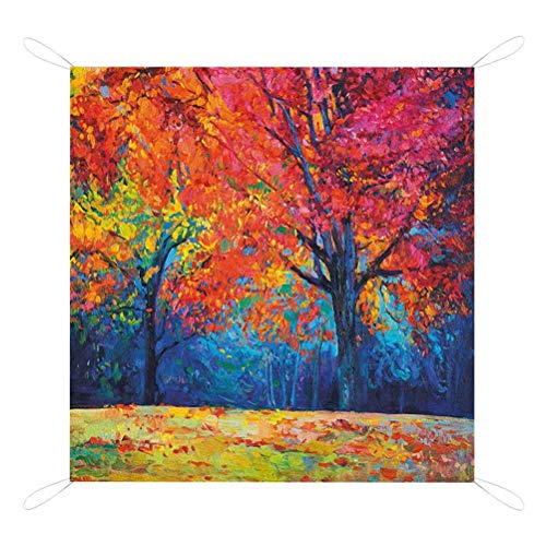 Great Features Of Nature Camping Mat Outdoor, Colorful Trees and Falling Autumn Leaves Seasonal Art ...