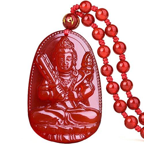 Buddha Pendant Necklace Bodhisattva Amulet Talisman Made of Agate Gemstone red green (red agate Akasagarbha (Space))