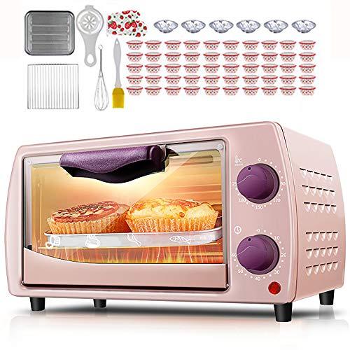 Mini Horno De 9L Doble Capa, Horno EléCtrico Mini, ConveccióN Rotativa, Parrilla EléCtrica Con Mango Aislado, Se Utiliza Para Preparar Pizza, Pasteles Y Pan,Pink-800W