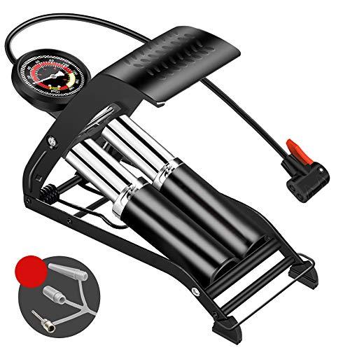 OurLeeme Fußpumpe, Zylinder Fußluftpumpe mit Manometer Reifenfüller für Ball Fahrrad Roller Motorrad (2 Zylinder)