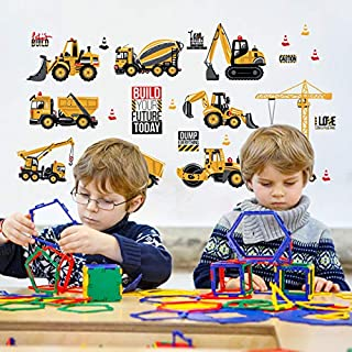 Cartoon Construction Site Kids Wall Decals Wall Stickers Engineering Vehicles Wall Stickers Cranes, Forklifts,Road Vehicles, Mud Tankers, Wall Decal Removable Wall Stickers Art Home Decor