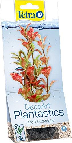 Tetra DecoArt kunstwaterplanten voor het aquarium, natuurgetrouwe reproductie, verschillende Plantensoorten en -maten, Red Ludwigia, rood, Small, rood