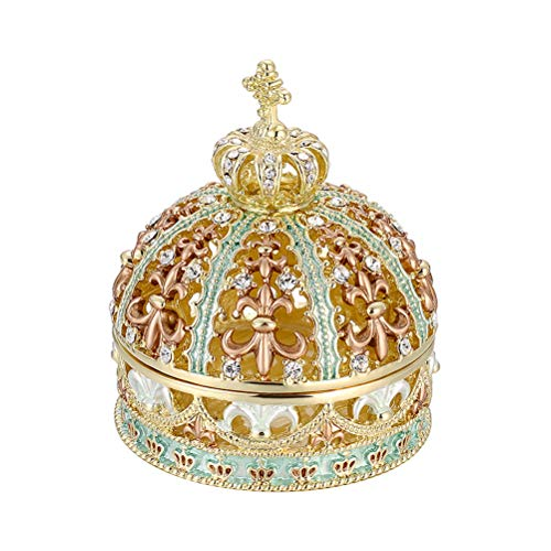 QXYAmj Cajas para Joyas Cristal Joyas Estilo Europeo de la Boda de la joyería del Anillo Caja de Regalo 4,6 × 4,6 × 5,4 cm