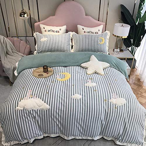 Edredón de microfibra reversible-Franela gruesa de dibujos animados más ropa de cama de plumón cama individual funda nórdica tamaño king funda de almohada regalo-RR_Cama de 2,0 m (4 piezas)
