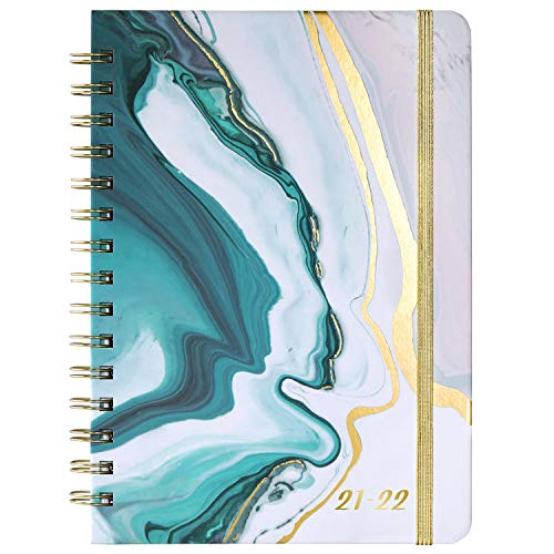 Agenda 2021 - Diario A5 Week to View, von Januar 2021 bis Dezember 2021, copertina rigida con Innentasche, Zwillingsdrahtbindung, rosa - blu mare