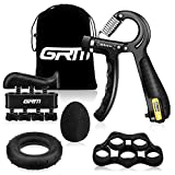 GRM Handtrainer Fingertrainer mit Zählfunktion [5er Set], Verstellbarer Unterarmtrainer, Finger Trainingsgerät, Trainingsring, Stressabbau-Griffkugel, Fingerdehner für Fitness Krafttraining Therap