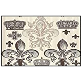 Fleur De Lis Decor Collection Classroom Rugs Elementary Contemporary Area Rugs Heraldic Pattern with Fleur De Lis and Crowns Tiara Iris Flowers Coat of Arms Knight Outdoor Carpets Patio Beige Tan
