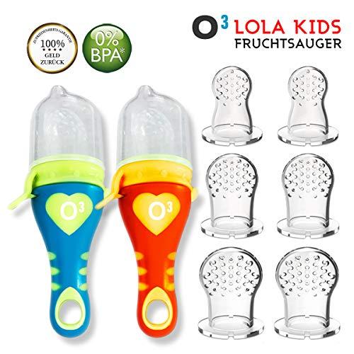 Lola Kids Fruchtsauger für Babys , 2 Fruchtsauger mit 6 Aufsatzkappen aus Silikon, Blau + Orange - 3