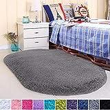 Noahas Ultra Soft Velvet Bedroom Rugs Kids Room Carpet Modern Shaggy Area Rugs Home Decor 2.6' X 5.3', Grey