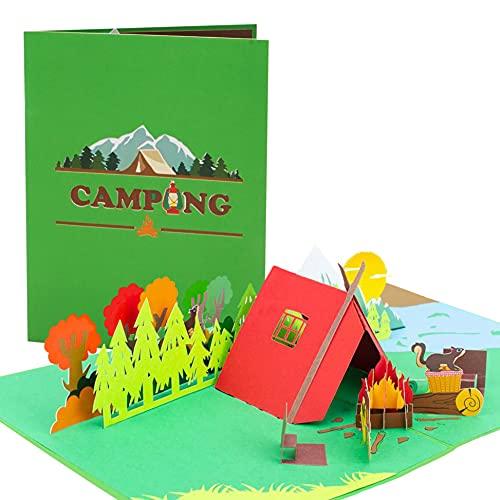 Geschenkgutschein Camping Geschenke | Pop up 3D Geburtstagskarte für Camper, Pfadfinder | Vatertagsgeschenk, Gutschein zum Zelten | Geschenkideen zum Geburtstag, H28AMZ