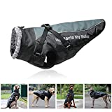 TFENG Dog Jacket for Small Medium Large Dog Windproof Waterproof Warm Winter Puppy Coat with Safe Reflective Strips & Adjustable Bust and Neck,Grey,6XL