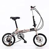 ZDXC Bicicleta Plegable de 14 Pulgadas, Bicicleta Compacta Portátil para Estudiantes de 5 Velocidades, Bicicleta Urbana Ligera para Hombres, Mujeres, Niños, 4 Colores