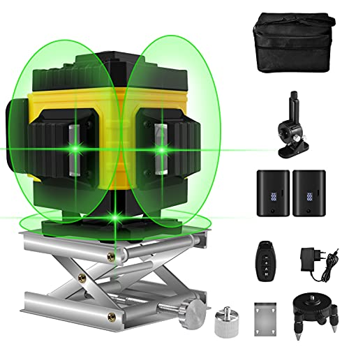 Livella Laser Autolivellante, 3D Cross Line Laser Verde, Linea Incrociata 3X360°, Verticali E Linee Orizzontali, 2 Batteria Ricaricabile, Telecomando - Luminosità Laser Regolabile