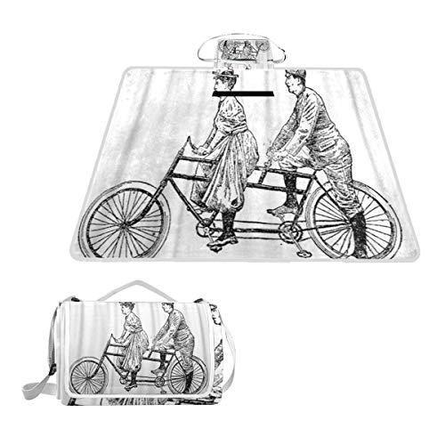 XINGAKA Manta de Picnic Impermeable,Antiguo Hombre y Mujer en Bicicleta tándem,Alfombra Plegable para Camping Parque