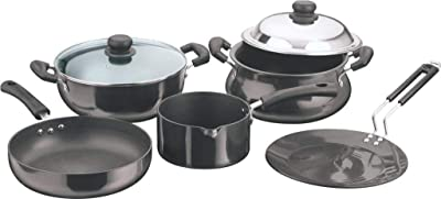 Vinod Induction Friendly Hard Anodized cookware Set 5- Pieces, Black