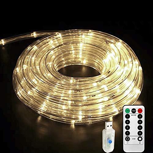 Lamker 10M 100 LED Manguera Luces de Hadas Blanco Cálido USB con Remoto Temporizador Guirnaldas Cuerda Luz Interior Exterior Impermeable IP65 para Navidad Jardín Balcón Terraza Iluminación Decor