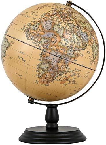 KJHG Globe Retro World - Decoración de escritorio con base de madera, decoración para el hogar o la oficina