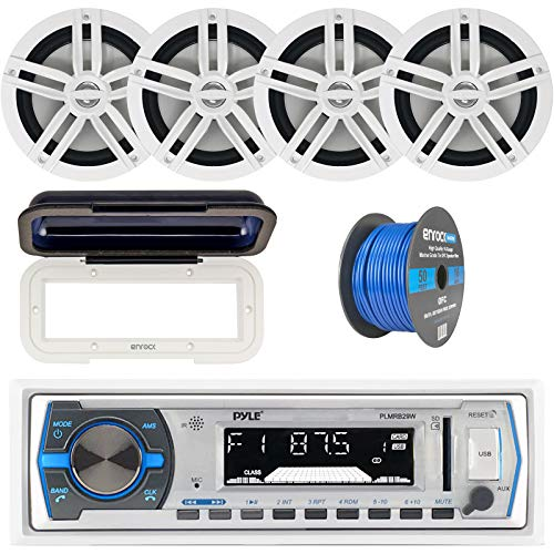"Pyle Single DIN Marine Boat USB/SD Bluetooth Stereo Receiver w/Waterproof Cover Bundle Combo with 4 x Enrock 6.5"" Full-Range White Audio Coaxial Speakers + Enrock 50Ft 16g Speaker Wire"