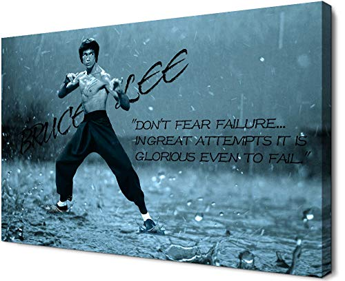 YOUHONG Modern Bruce Lee Motivational Quotes Wall Art Inspirational Quote Posters and Prints Stretched and Framed Ready to Hang for Home Gym Living Room Bedroom Office Decor [12''H x 18''W]