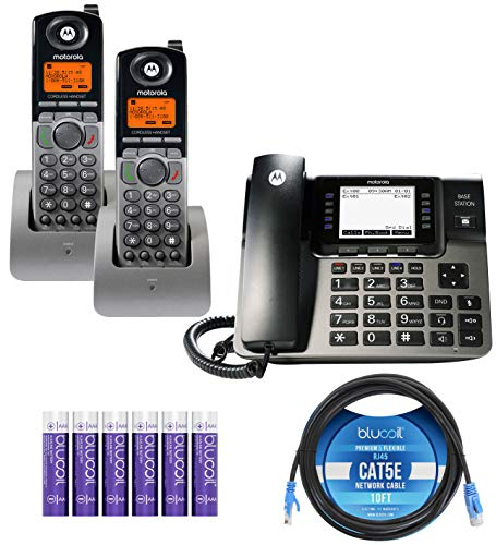 Motorola ML1000 DECT 6.0 Expandable 4-Line Business Phone System with Digital Receptionist Bundle with 2-Pack of ML1200 Cordless Handsets, Blucoil 10-FT 1 Gbps Cat5e Cable and 6 AAA Batteries