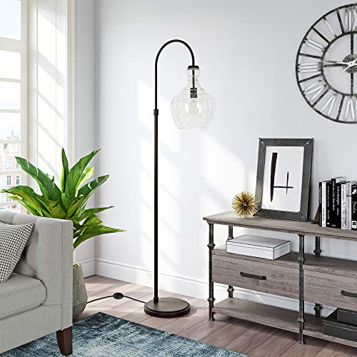 Henn&Hart Arc Blackened Bronze Floor Lamp with Seeded Glass Shade for Living Room / Office / Bedside
