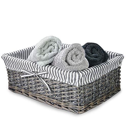 Cesta de mimbre gris | Forro a rayas incluido | Baño, hogar y lavandería | Organizador de madera | Cesto decorativo y canastilla | M&W (grande)