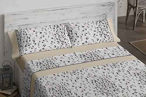 Burrito Blanco Juego de Sábanas 693 con Diseño de Formas Geométricas Irregulares Que Recrean una Piel de Leopardo para Cama Individual de 90x190 hasta 90x200 cm/Juego de Cama 90, Color Beige