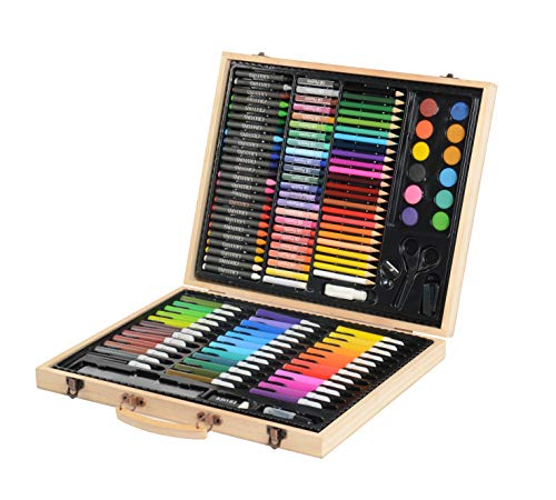 CONDA and Kiddy Color Deluxe Wood Art Drawing Set for Kids in Wooden Case, Painting 126 Piece