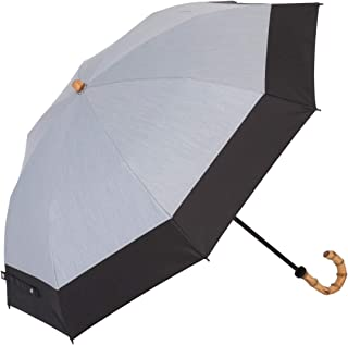 UVカット 遮熱 遮光 折傘 晴雨兼用 遮光1級 ラミネート生地 クールプラス 【LIEBEN-0514gy】 (シャンブレーグレー×ブラック)