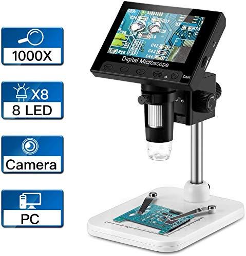 RUIZHI 4.3 pulgadas LCD Digital USB Microscopio Endoscopio Registro 1000X Zoom de aumento, 8 luces LED ajustables, Almacenamiento Micro-SD, Cámara Grabadora de video para reparación de soldadura