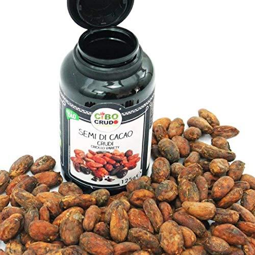 CiboCrudo Semi di Cacao Biologici Crudi, Qualità Criollo – 125gr– Cacao Beans Criollo Variety Raw Organic, Fave di Cacao Bio, dalle Piantagioni del Perù, Etichette in Italiano
