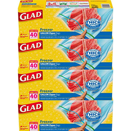 Glad Zipper Food Storage Freezer Bags - Gallon - 40 Count - 4 Pack