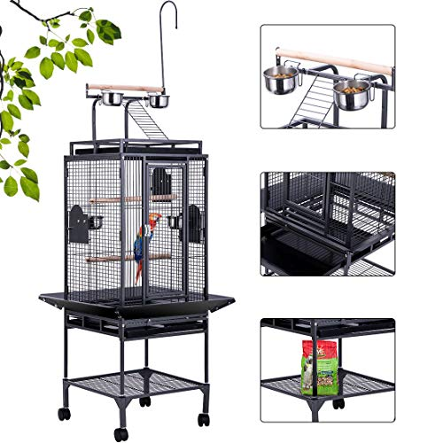 VIVOHOME 72 Inch Wrought Iron Large Bird Cage with Play Top and Rolling Stand for Parrots Conures Lovebird Cockatiel Parakeets